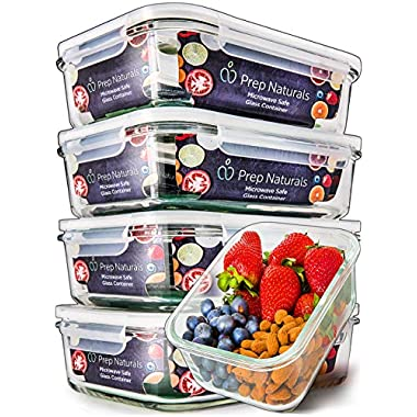 [5-Pack,29oz] Glass Meal Prep Containers - Food Prep Containers with Lids Meal Prep - Food Storage Containers Airtight - Lunch Containers Portion Control Containers - BPA Free Container