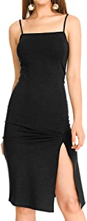 Women's Sphagetti Adjustable Strap Bodycon Club Cocktail Midi Dress with Side Slit