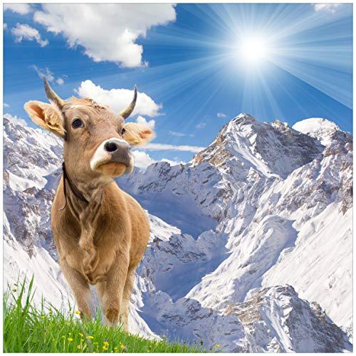 Wallario Möbeldesign/Aufkleber, geeignet für IKEA Lack Tisch - Kuh im Sonnenschein in den Alpen in 55 x 55 cm
