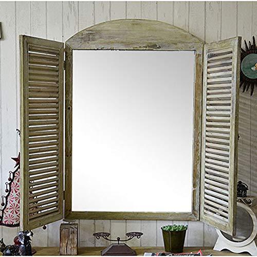 Franse landelijke stijl rustieke raamspiegel met luiken, duurzaam hout, Louvre onderdrukt groen wassen met vintage stijl metalen hardware muurdecoratie spiegel, ongeveer. 37.5 Inch Hoog