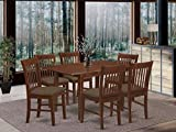 East West Furniture NOFK7-MAH-C 7-Pc Kitchen Table Set – 6 Kitchen Chairs and Wooden Table – Rectangular Table Top – Slatted Back and Linen Fabric Chair Seat (Mahogany Finish)
