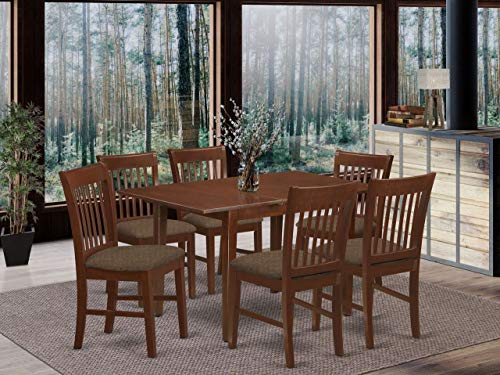 East West Furniture NOFK7-MAH-C 7-Pc Kitchen Table Set – 6 Kitchen Chairs and Wooden Table –...