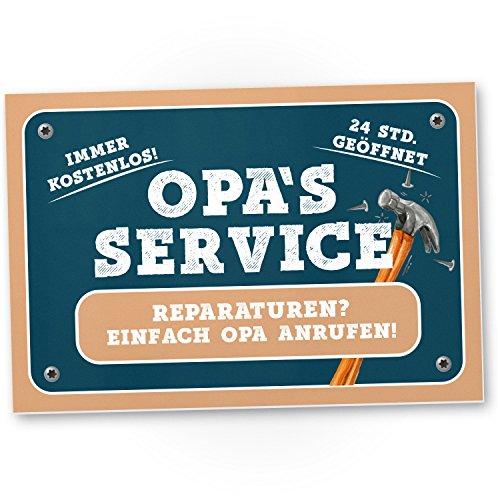 DankeDir! Opa's Service Kunststoff Schild - Süßes Türschild Opa's Werkstatt Wanddeko Geschenkidee Geburtstagsgeschenk Opa Persönliches süßes Geschenk Großvater Großeltern