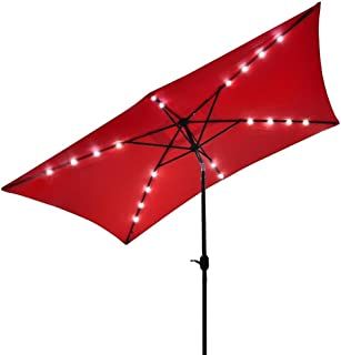 10x6.5 Foot Aluminum Red Rectangular Solar LED Powered Polyester Outdoor Tilting Patio Furniture Umbrella w/ Crank Handle
