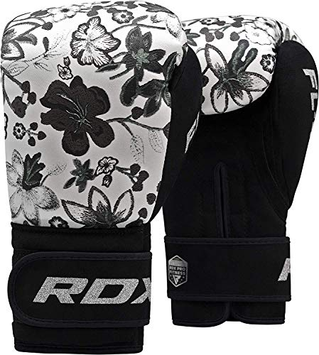 RDX Guantes de Boxeo Mujer para Entrenamiento y Muay Thai | Flora Skin Mitones para Kick Boxing, Sparring | Boxing Gloves para Combate Training, Saco Boxeo