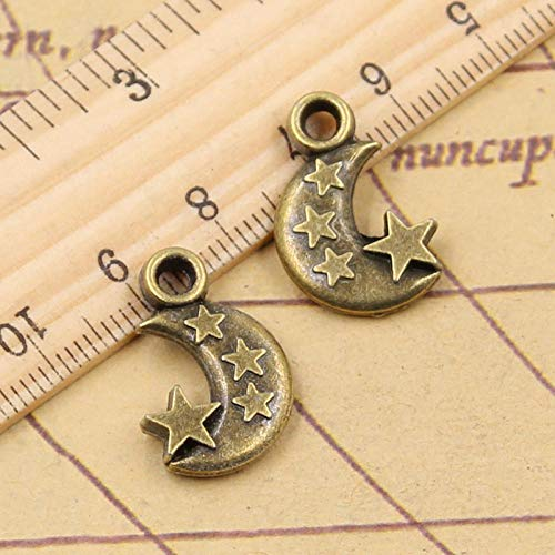 WANM 12Pcs Charms Moon Star 21X14X3Mm Tibetan Bronze Silver Color Pendants Crafts Making Findings Handmade Antique Diy Jewelry