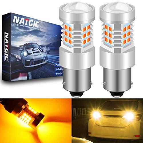 NATGIC BAU15S 7507 PY21W Ampoules LED Amber 21 - EX 2835 SMD Jeu de puces avec projecteur pour Objectif pour Feux de Clignotant arrière, 10-16V 10,5W (Lot de 2)
