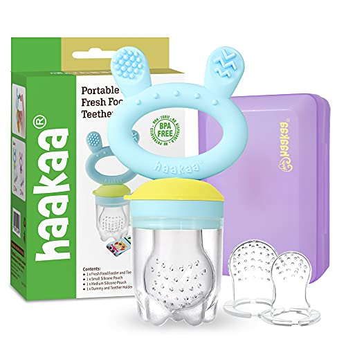 Baby Fruit Food Feeder Pacifier - haakaa Silicone Feeder and Teether for Infant Safely Self Feeding,BPA Free Teething Relief Toy with Teether Clip&Travel Case(Blue)