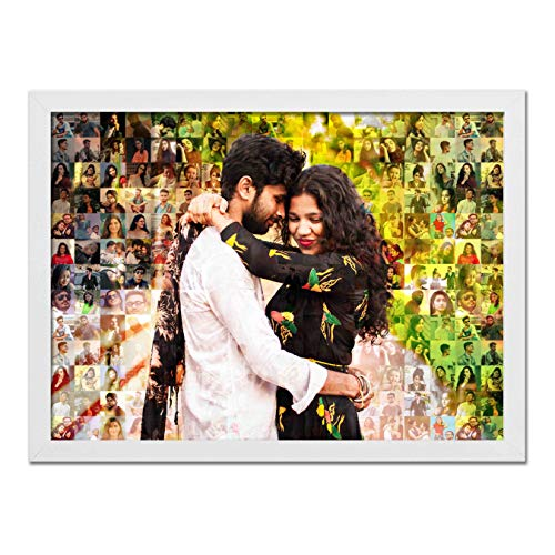 The Happy Dreams Customized Mosaic Photo Frame for Couple| Brother-Sister, or Some One Special in Your Life (Black, 20 x 14 inch)