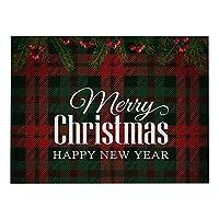 DENGZI ランチョンマット 綿とリネンのまとめの赤と緑のクリスマスのプラセマット、防水と掃除が簡単な、クリスマステーブルの装飾、ワンピース (Color : E, Size : 32x42cm waterproof)