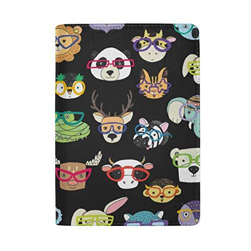 BALII - Funda protectora de piel para pasaporte con diseño de animal en gafas divertidas para niñas, niños, hombres y mujeres