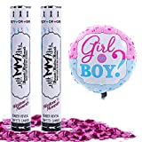Gender Reveal Confetti Cannon Pink 2 Pack - Baby Reveal Party Supplies with 18 inch Gender Reveal Foil Balloon - Set of 2 Pink Confetti Poppers