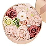 Luxury Beautiful Flora Scented Roses/Carnation Flower Bath Soap With Stem, Plant Essential Oil Flower Soap in Gift Box, Gift for Anniversary/Birthday/Wedding/Valentine's Day/Mother's Day/Teachers' Day/Thanks Giving/Christmas Gift/New Year Gift(round)
