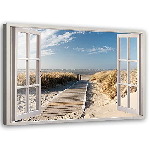 Feeby Leinwandbild XXL 3D Illusion Wandbild Kunst Küste Nordsee Landschaft Steg Meer Beige 120x80 cm