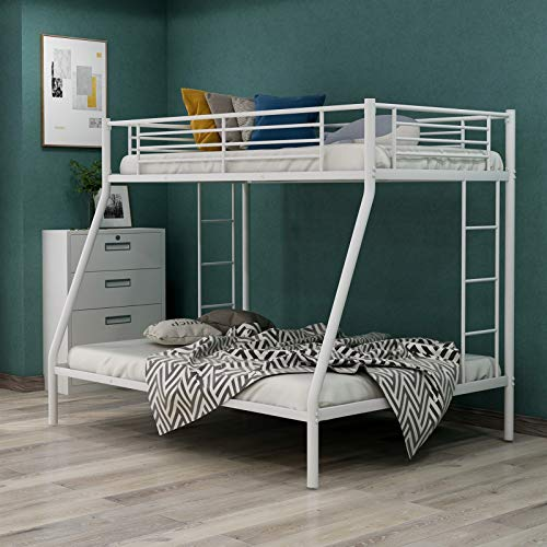 Metal Frame Bunk Bed Twin Over Full with Two-Side Ladder and Safety Guard Rails,Heavy Duty Bedroom Furniture for Boys/Girls,Easy to Assemble/No Box Spring Required,Ship from USA Warehouse