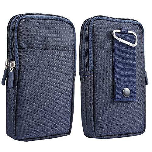 Riñonera vertical para hombre, color azul, pequeña funda para teléfono móvil con clip, 6,9 pulgadas, universal para teléfono móvil, riñonera, monedero, soporte para teléfono móvil, bolsos