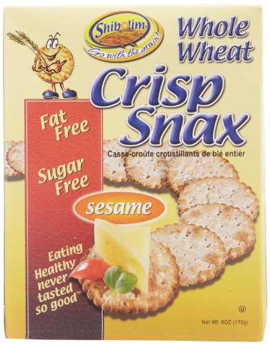 Shibolim Whole Wheat Crackers, Crisp Snax Sesame Flavor 168g Fat Free, Sugar Free