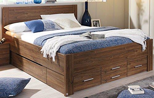 Rauch Bett mit 6 Schubkästen Eiche Stirling 160 x 200 cm Schubladenbett Funktionsbett