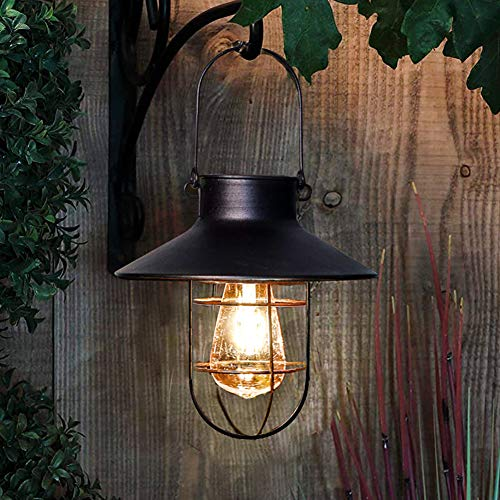 pearlstar Solar Lantern Outdoor Hanging Light Rustic Solar Lamp with Warm White Edison Bulb Design for Garden Yard Patio Proch Decor(Black)