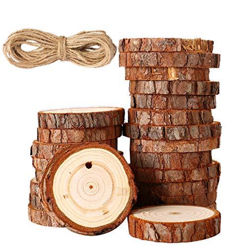 50 piezas Rodajas de Madera Discos de Madera para Centros Posavasos Adornos de Navidad DIY Boda Manualidades (3 – 4 cm, 4 – 5 cm)