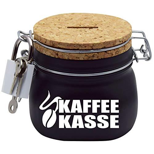 Kaffeekasse Spardose in Schwarz mit Korkdeckel und Sparschlitz in S