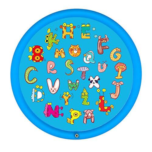 WggWy Juego Césped Almohadilla Rociado De Agua, Juguetes Inflables De Entretenimiento para Niños Estera De Rociador Inflable para Niños Juguete para Exteriores,Blue Rounded Letters