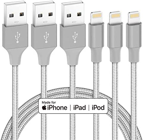 iPhone Charger Cable MFi Certified Marchpower 3 PACK 6FT Lightning Cable Nylon Braided Durable product image