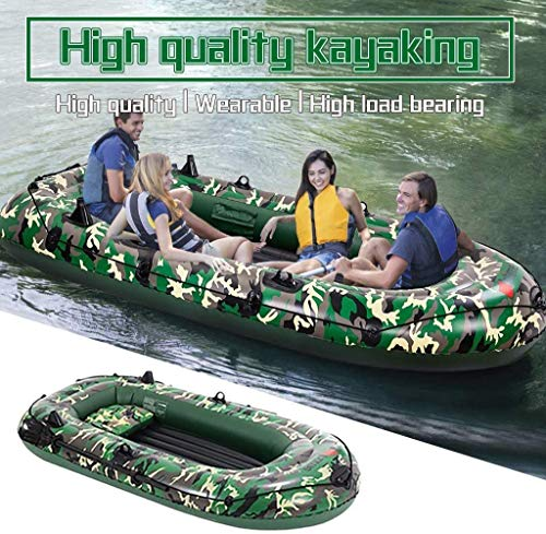 intent_Side Kayak 4-Person 10FT PVC Inflatable Boat Series Explorer Touring Drifting Diving Rowing Canoe Rafting Fishing Dinghy Tender Pontoon Boat Set with Paddle and Air Pump Fun Water Sports