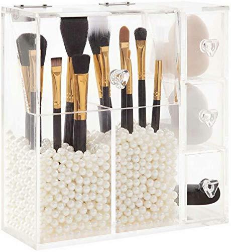 PuTwo Boîte de Rangement Organisateur Maquillage Avec 3 Tiroirs pour Pinceaux et Bijoux Transparent en Acrylique avec des Perles Blancs Graduites Kardashian Beauty