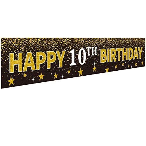 Ushinemi Happy 10th Birthday Banner Party Decorations for Kids 10 Years Old Birthday Backdrop, Cheer to Tenth Year Anniversary Large Signs, 9.8X1.6Ft, Gold and Black
