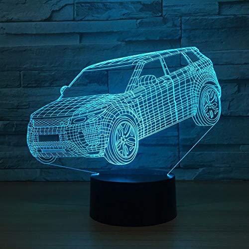 Auto nachtlampje voor kinderen 3D illusie lamp, touch button 7 kleuren tafel bureaulamp met afstandsbediening voor kinderkamerdecoratie en kindergeschenken