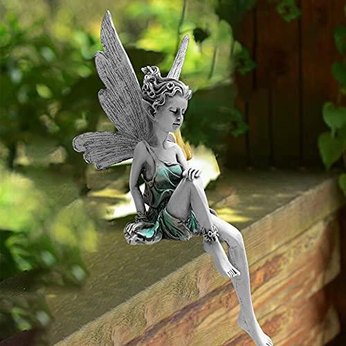 Fairy Estatuas para Jardín, Decoración De Exterior Estatua De Hada Sentado, Hada con ala Estatuilla Mano Tallada Escultura, Fairy Statue Garden Arte Paisajismo Ornamento Artes