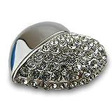 818-Shop No36200050064 USB-Pendrive 64GB corazón metálico 3D de plata...