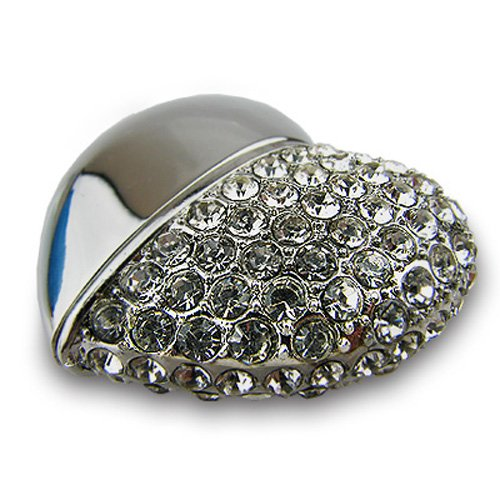 818-Shop No36200050064 USB-Pendrive 64GB corazón metálico 3D de plata