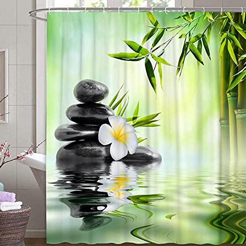 MundW DAS DESIGN Duschvorhang Bambus auf Wasser leichten Nebel reflektiert Textil Vorhang grün exotisch Stein Relax Schimmelresistent Bambusblatt Spa Ruhe inkl. 12 C-Ringe Gewicht unten 180x200(BxH) cm