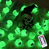30 LED Halloween Eyeball String Lights, 8 Modes Fairy Lights with Remote, Waterproof Battery Operated Halloween Lights for Outdoor Indoor Party Christmas Halloween Decoration (Green)