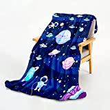 WISH TREE Space Blanket for Boys Kids Plush Fleece Throw Blanket with Galaxy Design for Bed Sofa Couch, 50x60 Inch Soft Fuzzy Blanket Space Room Decor Gift