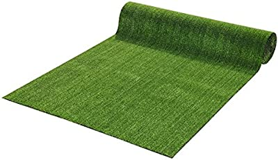 """Luchuan Collection Indoor/Outdoor Green Artificial Grass Turf Solid Design Area Rug Rv Patio Mat (39.4"""" x 59"""")"""