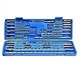 Juego de brocas de martillo eléctrico de vástago redondo de 20 piezas SDS/SDS Plus para perforar agujeros en piedra de ladrillo de hormigón