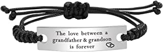 Kisseason Stainless Steel Grandmother Grandfather and Grandson Granddaughter Bracelet Mantra Jewelry