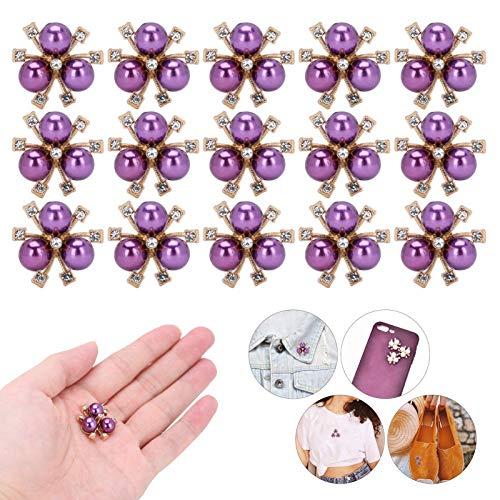 Diamantes de imitación de la flor de la perla de bricolaje, diamantes de imitación de la flor de la perla Flor de la perla del color para las ceremonias para los banquetes de los carnavales(purple)