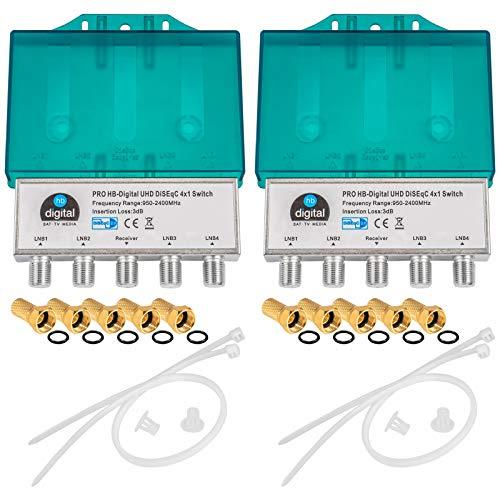 2X PRO DiseqC Schalter Switch 4/1 mit Wetterschutzgehäuse HB-DIGITAL 4X SAT LNB 1 x Teilnehmer / Receiver für Full HDTV 3D 4K UHD + 10 x Vergoldete F-Stecker Vergoldet
