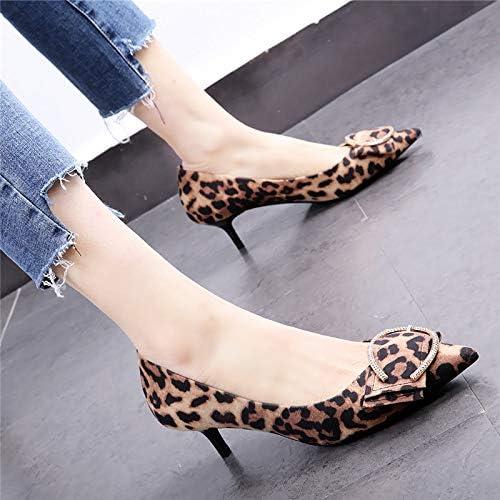 HOESCZS 5cm Chaussures pour Dames 19 Printemps Nouvelles Chaussures à Talons Aiguilles léopard Talon Bas Boucle de tempérament Chaussures Sauvages