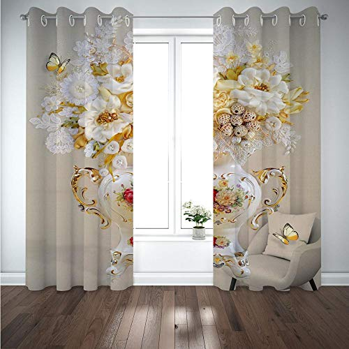 MENGBB Blackout Curtain for Kids Girls Microfiber 94x90 inch Fashion vase printing Thermal Insulated 95% Blackout Kitchen Bedroom Living Room Window Eyelet Curtains