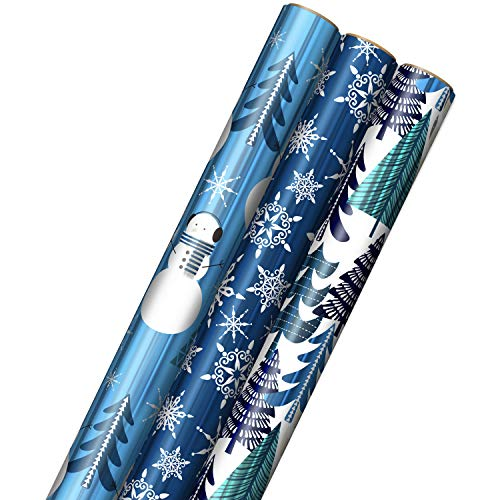 Hallmark Blue Foil Christmas Wrapping Paper with Cut Lines on Reverse (3 Rolls: 60 sq. ft. ttl) Snowmen, Snowflakes, Christmas Trees
