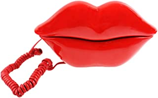 TelPal Red Mouth Telephone Wired Novelty Sexy Lip Phone Gift Cartoon Shaped Real Corded Landline Home Office Phones Furnit...