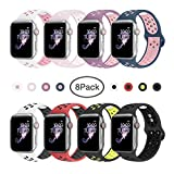 BMBEAR Sport Bands Compatible with Apple Watch 38mm 40mm Soft Silicone Strap Replacement