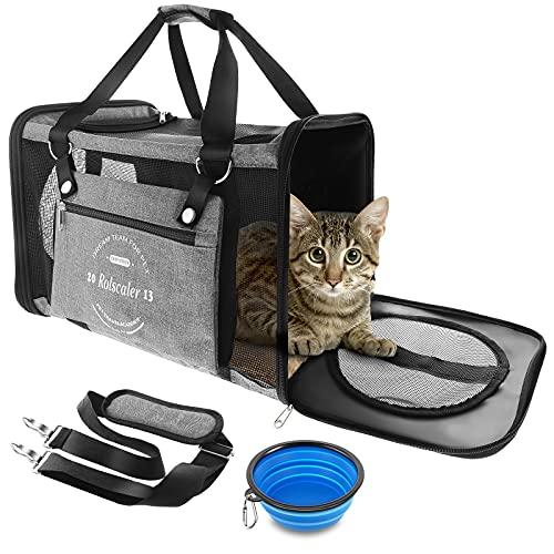 Anykuu Faltbare Hundetragetasche Katzentragetasche Atmungsaktive Transporttasche Katzen mit Verstellbarem Schultergurt Stoff Oxford Faltbare Transportbox mit Fleece Matte für Transport mit Flugzeug