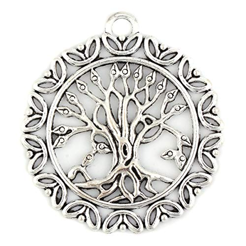 JGFinds Round Tree of Life Charm Pendants 10 Pack - Large About 2 inches, Silver Tone
