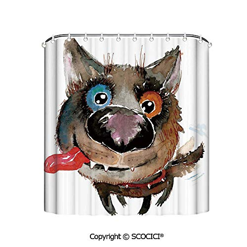 "SCOCICI 72""x72"" Shower Curtain - Spa,Hotel Luxury,Water Repellent,Decorative Bathroom Curtains,Funny Dog Puppy Smiling Best Companion Happy Creature Humor Grunge Print"